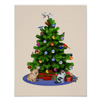 Merry Christmas Tree with Birds, Cat, Dog Print