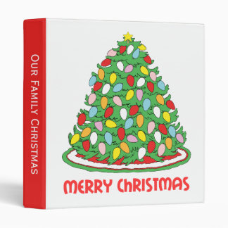 Merry Christmas Tree with Multicolor Bubble Lights Binder