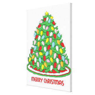 Merry Christmas Tree with Multicolor Bubble Lights Gallery Wrap Canvas