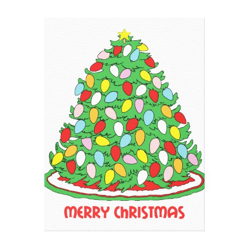 Merry Christmas Tree with Multicolor Bubble Lights Canvas Print