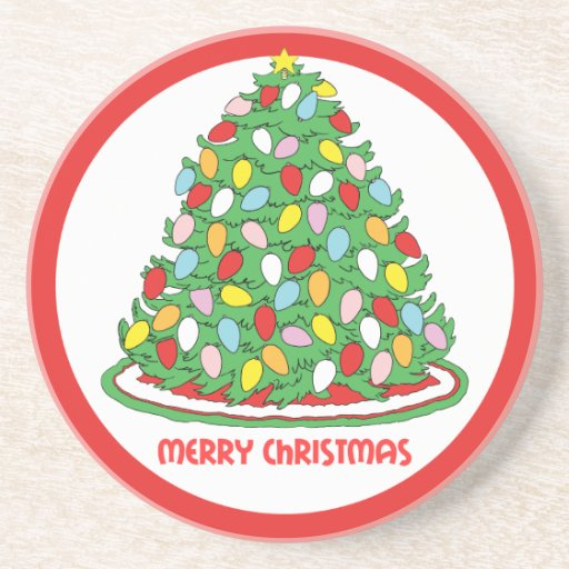 Merry Christmas Tree with Multicolor Bubble Lights Beverage Coasters