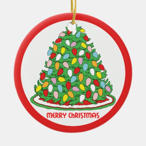 Merry Christmas Tree with Multicolor Bubble Lights Double-Sided Ceramic Round Christmas Ornament