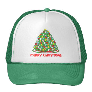 Merry Christmas Tree with Multicolor Bubble Lights Mesh Hats