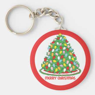 Merry Christmas Tree with Multicolor Bubble Lights Basic Round Button Keychain