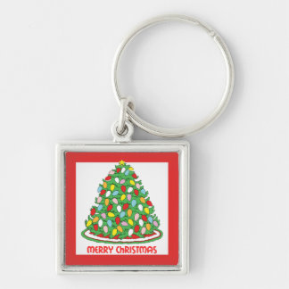Merry Christmas Tree with Multicolor Bubble Lights Silver-Colored Square Keychain