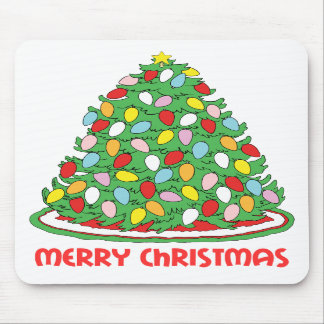 Merry Christmas Tree with Multicolor Bubble Lights Mousepads