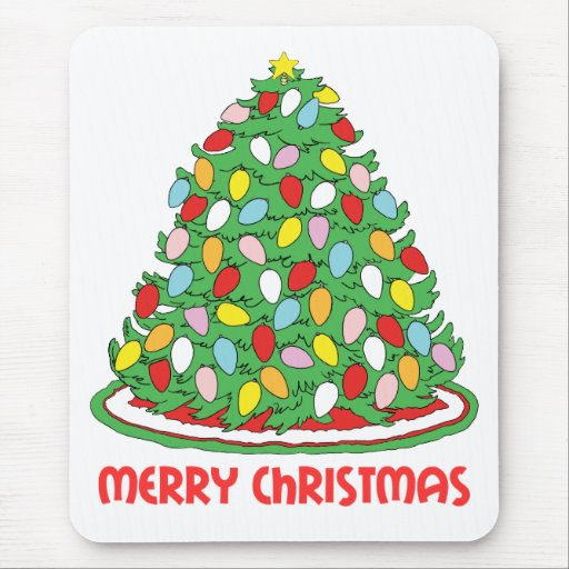 Merry Christmas Tree with Multicolor Bubble Lights Mouse Pad