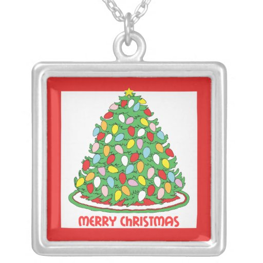 Merry Christmas Tree with Multicolor Bubble Lights Square Pendant Necklace