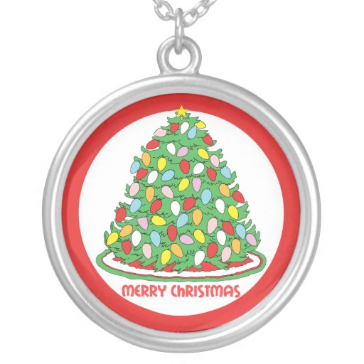 Merry Christmas Tree with Multicolor Bubble Lights Round Pendant Necklace
