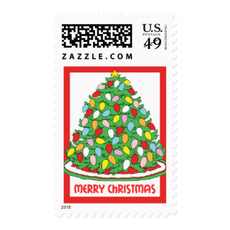 Merry Christmas Tree with Multicolor Bubble Lights Postage Stamp
