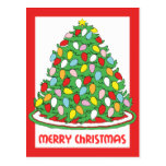 Merry Christmas Tree with Multicolor Bubble Lights Postcards