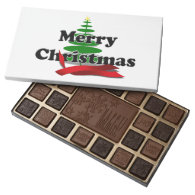 Merry Christmas - Tree with Red Ribbon 45 Piece Box Of Chocolates