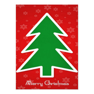 """Merry Christmas Tree With Snowflake Background 5.5"""" X 7.5"""" Invitation Card"""