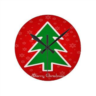 Merry Christmas Tree With Snowflake Round Clock