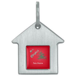 Merry Christmas Tree with Snowflakes Pet ID Pet ID Tag