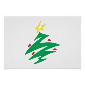 Merry Christmas Tree with Star Greeting Cards Mugs Print