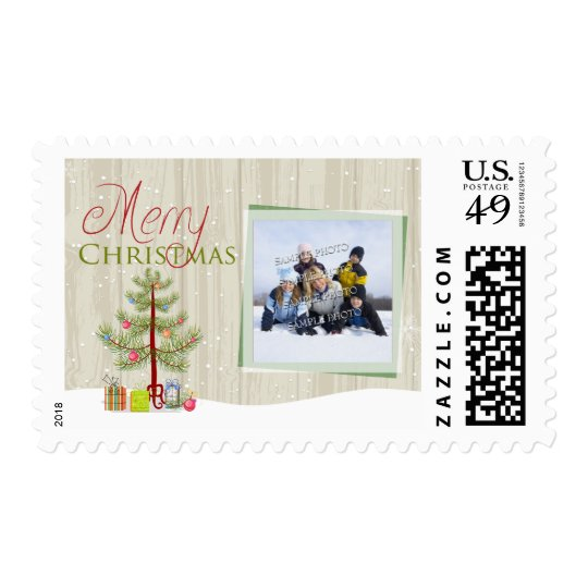 Merry Christmas tree wood holiday photo stamps