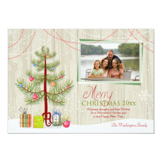 Merry Christmas tree wood plank holiday photo card Announcements