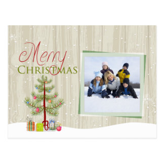 Merry Christmas tree wood plank holiday photo card Postcard