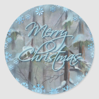 MERRY CHRISTMAS TREES by SHARON SHARPE Classic Round Sticker