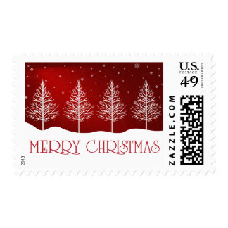 Merry Christmas Trees Festive Typography Postage
