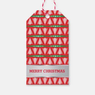 Merry Christmas Trees Gift Tags   Family Name Pack Of Gift Tags