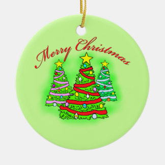 Merry Christmas Trees Double-Sided Ceramic Round Christmas Ornament