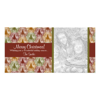 Merry Christmas Trees Photo Card in Red and Green