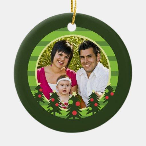 Merry Christmas Trees Photo Ornament