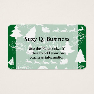 Santa merry christmas business cards templates zazzle merry christmas trees santa reindeer holiday business card colourmoves