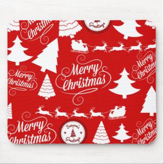 Merry Christmas Trees Santa Reindeer Holiday Mouse Pad