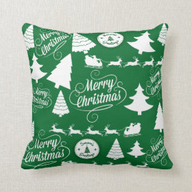 Merry Christmas Trees Santa Reindeer Holiday Pillow