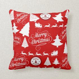 Merry Christmas Trees Santa Reindeer Holiday Throw Pillows