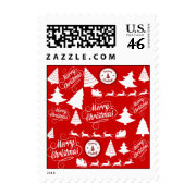 Merry Christmas Trees Santa Reindeer Holiday Stamps