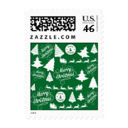 Merry Christmas Trees Santa Reindeer Holiday Postage Stamp