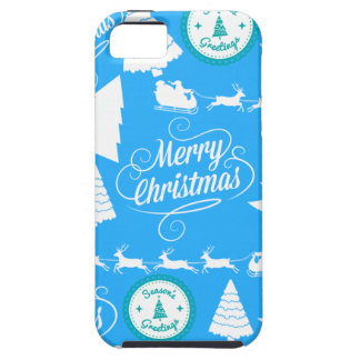 Merry Christmas Trees Santa Reindeer Teal Blue iPhone SE/5/5s Case