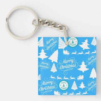 Merry Christmas Trees Santa Reindeer Teal Blue Keychain