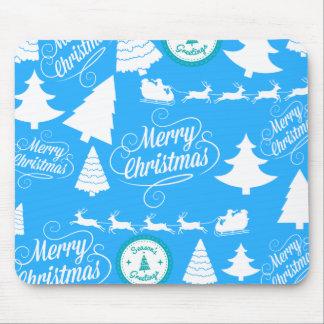 Merry Christmas Trees Santa Reindeer Teal Blue Mouse Pad