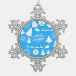 Merry Christmas Trees Santa Reindeer Teal Blue Ornaments