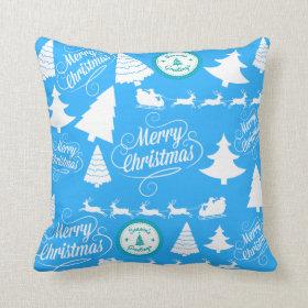 Merry Christmas Trees Santa Reindeer Teal Blue Pillows