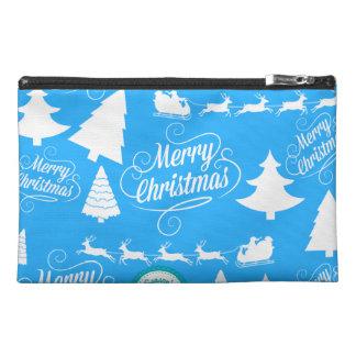 Merry Christmas Trees Santa Reindeer Teal Blue Travel Accessory Bag