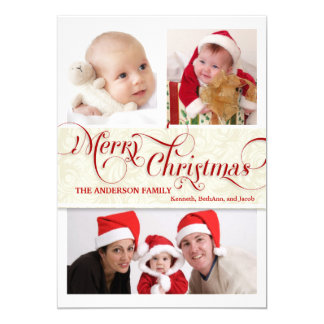 "Merry Christmas Tri-Photo Flat Card - Red & White 5"" X 7"" Invitation Card"