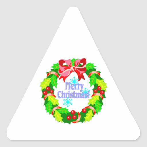 Merry Christmas Triangle Stickers