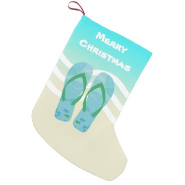 Christmas Themed Merry Christmas Tropical Fish Beach Waves Sandals Small Christmas Stocking