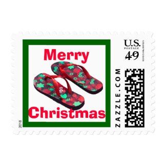 Merry Christmas Tropical Flip Flop Sandals Postage Stamp