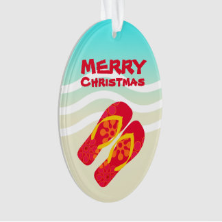 Merry Christmas Tropical Holiday Beach Sandals Ornament