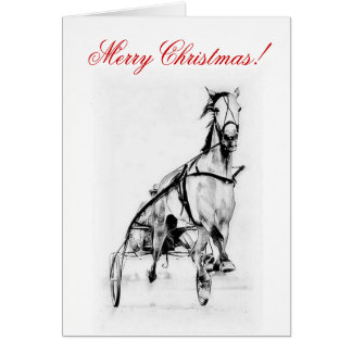 Merry Christmas Trotter Horse Racing Card