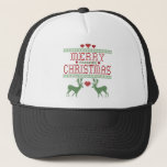 """Merry Christmas Trucker Hat<br><div class=""""desc"""">Ugly Sweater themed Merry freaking Christmas. Funny gift for Scrooges this winter.</div>"""