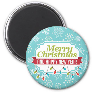 Merry Christmas; Turquoise Snowflakes Refrigerator Magnets