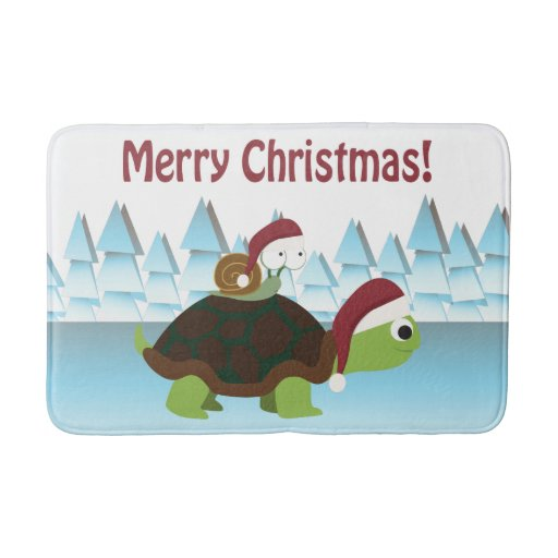 Merry Christmas Turtle And Snail Bathroom Mat Zazzle